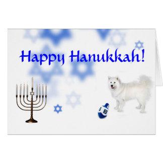 Happy Hanukkah Samoyed Greeting Card