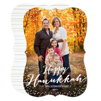 Happy Hanukkah Script Photo Card