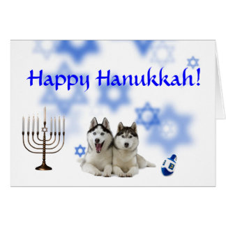 Happy Hanukkah Siberian Husky Card