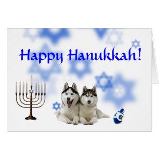 Happy Hanukkah Siberian Husky Greeting Card