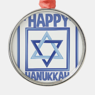 Happy Hanukkah Silver-Colored Round Ornament