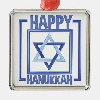 Happy Hanukkah Silver-Colored Square Ornament