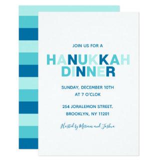 Happy Hanukkah   Simple Modern Blue and Teal Card