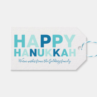 Happy Hanukkah | Simple Modern Blue and Teal Gift Tags