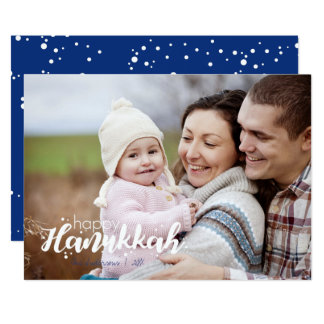 Happy Hanukkah Snow Bubbles Holiday Photo Card