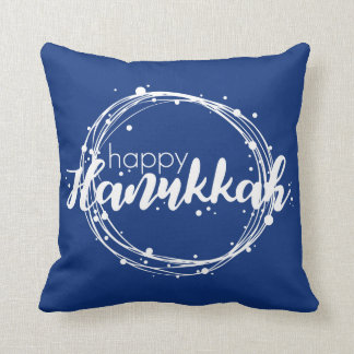 Happy Hanukkah Snow Bubbles Holiday Throw Pillow