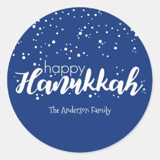 Happy Hanukkah Snow Bubbles Sticker Gift Tag