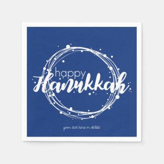 Happy Hanukkah Snow Bubbles Wreath Holiday Napkin