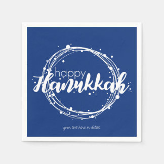 Happy Hanukkah Snow Bubbles Wreath Holiday Napkin Disposable Napkin