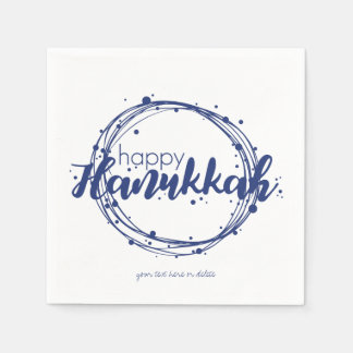 Happy Hanukkah Snow Bubbles Wreath Holiday Napkin Paper Napkin