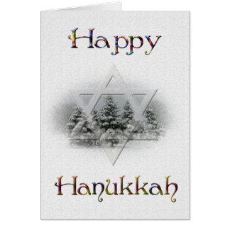 Happy Hanukkah-Snow Covered Trees/Star of David Card