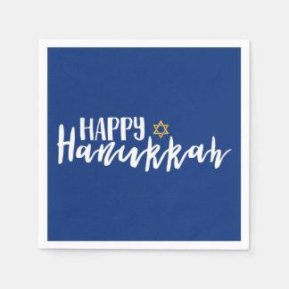 Happy Hanukkah Star of David Holiday Napkin