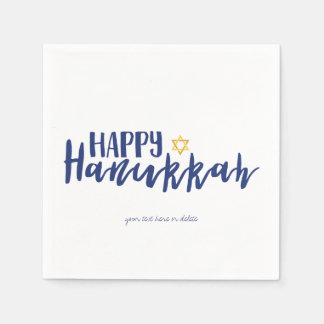 Happy Hanukkah Star of David Holiday Napkin Paper Napkin