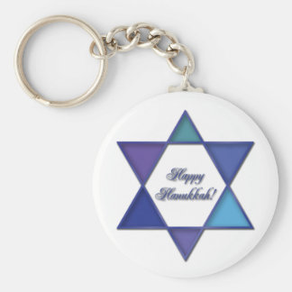 Happy Hanukkah Star of David Keychain