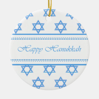 Happy Hanukkah Star of David Personalized Double-Sided Ceramic Round Christmas Ornament