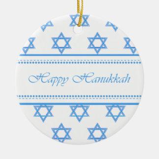 Happy Hanukkah Star of David Personalized Round Ceramic Ornament
