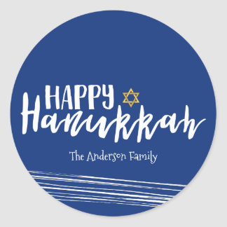 Happy Hanukkah Star of David Sticker Gift Tag