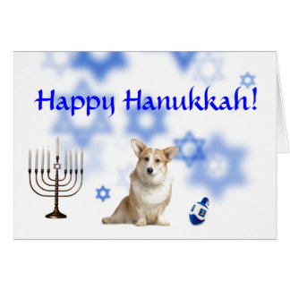 Happy Hanukkah Welsh Corgi (Caridgan) Card