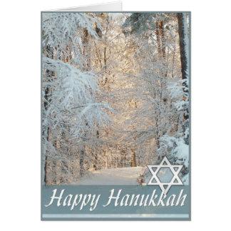 Happy Hanukkah Winter Road Greeting Card