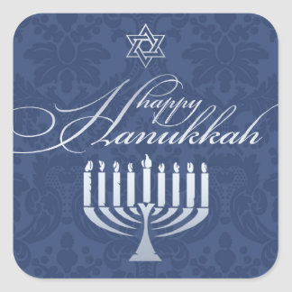 Happy Hanukkah with Menorah Sticker