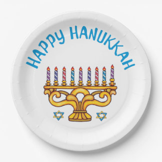Happy Hanukkah with Rainbow Candles 9 Inch Paper Plate