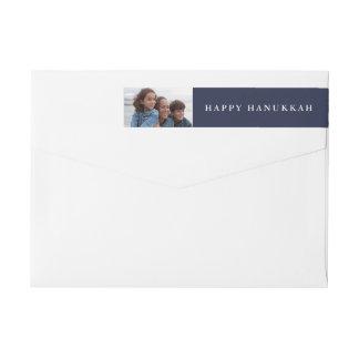 Happy Hanukkah | Your Photo on Holiday Blue Wraparound Return Address Label