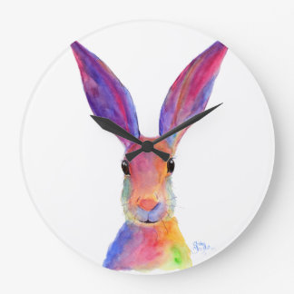 Happy Hare ' JELLY BEAN ' Clock by Shirley Mac