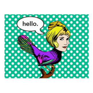 Happy Harpy Anthropomorphic Bird Girl Postcard