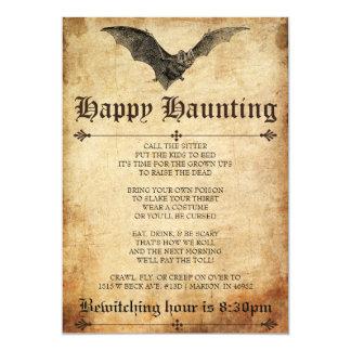 Happy Haunting Bat Halloween Invitation