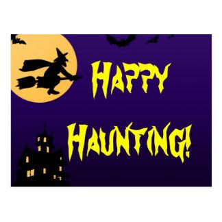 Happy Haunting Halloween Haunted House Postcard
