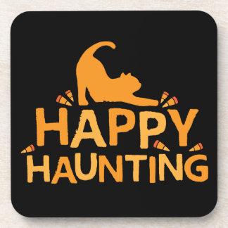 happy haunting with cat and corn coasters