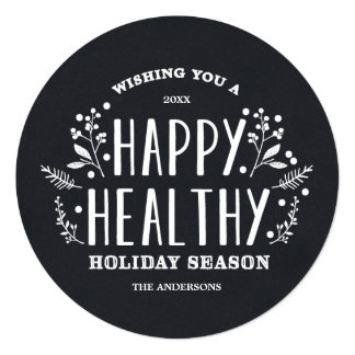 "Happy Healthy Holiday | Holiday Photo Card 5.25"" Square Invitation Card"