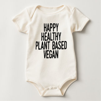 Happy Healthy Plant Based Vegan (blk) Baby Bodysuit