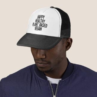 Happy Healthy Plant Based Vegan (blk) Trucker Hat