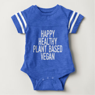 Happy Healthy Plant Based Vegan (wht) Baby Bodysuit