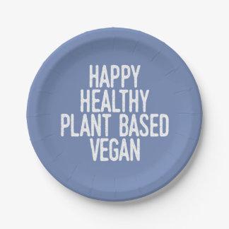 Happy Healthy Plant Based Vegan (wht) Paper Plate