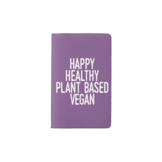 Happy Healthy Plant Based Vegan (wht) Pocket Moleskine Notebook
