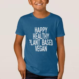 Happy Healthy Plant Based Vegan (wht) T-Shirt