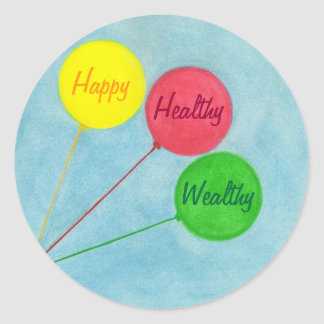 Happy Healthy Wealthy Balloon Affirmation Classic Round Sticker