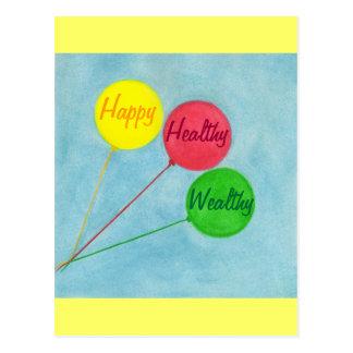 Happy Healthy Wealthy Balloon Affirmation Postcard
