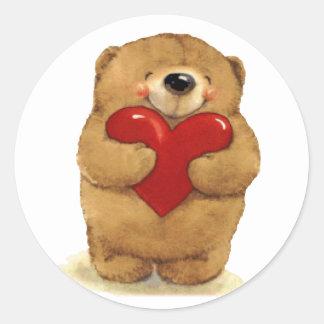 Happy Heart Bear Classic Round Sticker