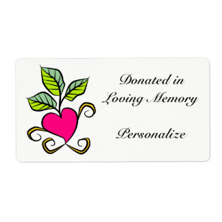 Happy Heart Donation Bookplate Shipping Label