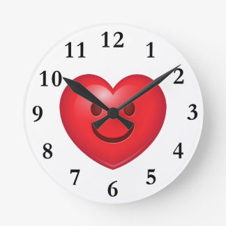 Happy Heart Emoji Round Clock
