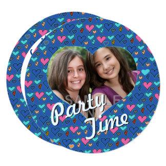 Happy Hearts 13th Twin Birthday Party Invitations