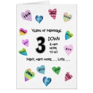 Happy Hearts 3rd Anniversary Card