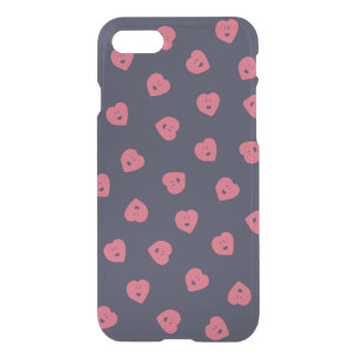 Happy Hearts clear iPhone case - Deep Plum