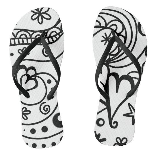 Happy Hearts & Flowers DoodleArt, UniseFlip Flops Flip Flops