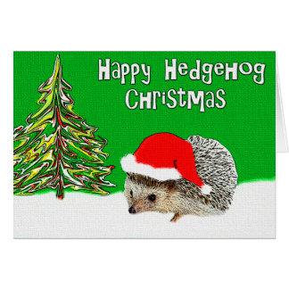 Happy Hedgehog Christmas Greeting Card