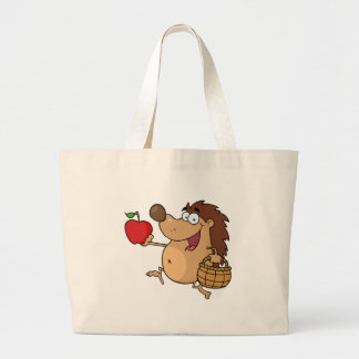 Happy Hedgehog Runs With Apple Large Tote Bag