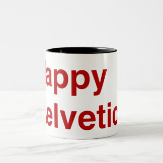 Happy Helvetica Two-Tone Coffee Mug